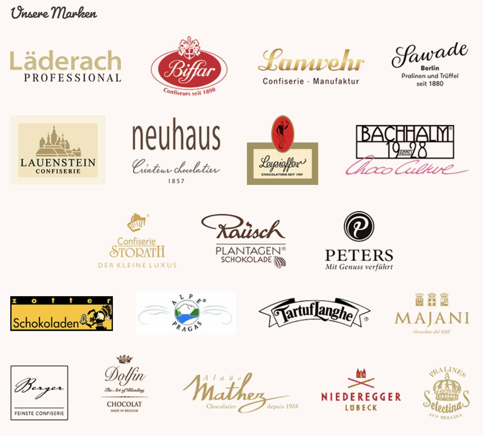 Tolle Marken bei der Chocolaterie Mayser